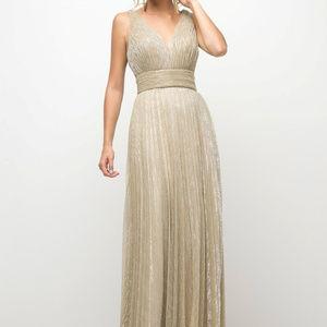 Gold A-Line Prom long Dress